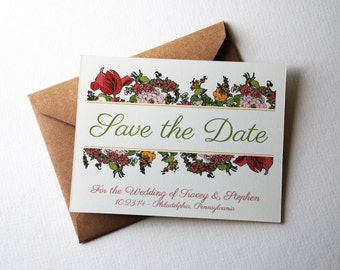 """Customizable Save the Date Cards with Flowers in Pink, Yellow, Red, and Green, 4.25x5.5"""" cards with kraft envelopes"""