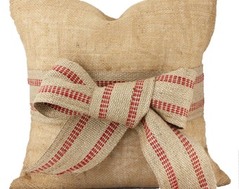 Burlap Pillow Cover //Jute Webbing Bow // Decorative Throw Pillow // ONE 16x16 inch // Farmhouse Decor //  Free U.S. Shipping