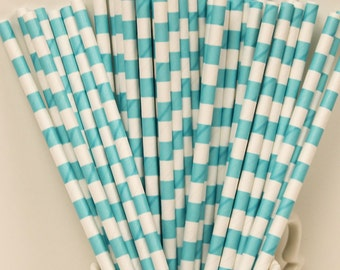Paper Straws, 25 Robins Egg Blue Sailor Striped Paper Straws, Wedding Paper Straws, Birthday Party Paper Straws, Boys Baby Shower Straws,