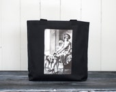 The Flapper and Her Greyhound - School Bag - Black - Canvas Bag - Vintage Photograph - 1920's - Carryall Tote