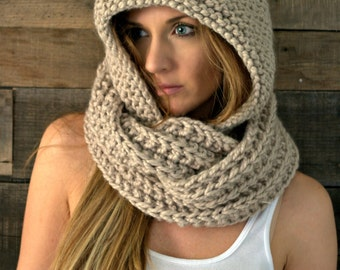 Chunky Hooded Cowl Infinity Scarf / THE EMPIRE  / Sandy Pond