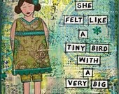 Summer Girls Mixed Media Girl Original Canvas / She Art / 8x10 Collage Painting