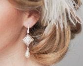 Bridal Earrings, Art Deco Wedding Earrings, Bridal Jewelry, Rhinestone Chandelier Earrings, Great Gatsby Jewelry