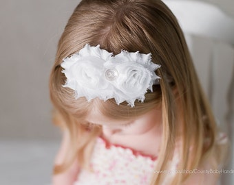 Deal of the Day FREE SHIPPING...Baby Headband...White Double Shabby Rose Headband...White Headband, Headband, White Baby Headband