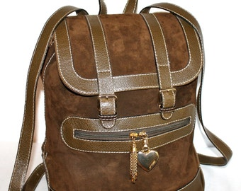 MOSCHINO REDWALL Vintage Backpack Brown Suede Leather Extra Large Rucksack - AUTHENTIC -