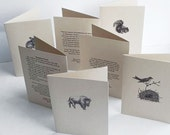 Set of 5 cards, your choice.  Note cards gift set. Ecofriendly cards. Thank you cards, all occasion cards.