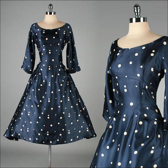 Vintage 1950s Dress Mollie Parnis Blue Satin Polka Dots