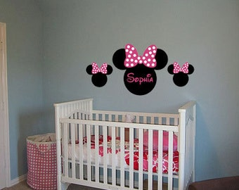 Minnie Mouse Ears Name PERSONALIZED 50x24 Vinyl Wall Lettering Words Quotes Decals Art Custom