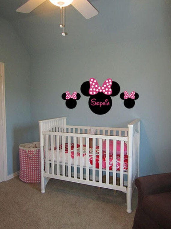 Minnie Mouse Ears Name Personalized 50x24 Vinyl Wall Lettering