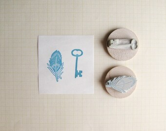 Tiny Key and Feather Hand Carved Stamp Set