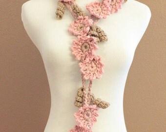 CROCHET PATTERN - Crochet Flower Scarf Pattern, Crochet Scarf Pattern, Flower Lariat Pattern