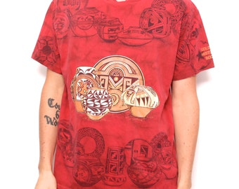 NATIVE AMERICAN 90s all over print cotton t-shirt made in U.S.A.