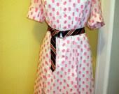Vintage Shirt Waist Dress, White Pink Polka Dots, Dotted Swiss Dot, Flattering Fit