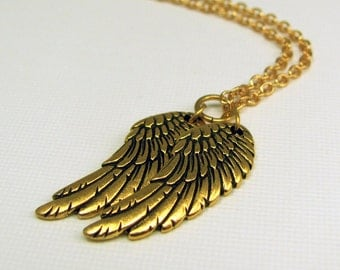Gold Wings Necklace of Angel Wings, Eagle Wings, Bird Wings, Pegasus Wings, or Anime Wings. Angel Wings Necklace. My Little Pony Necklace.