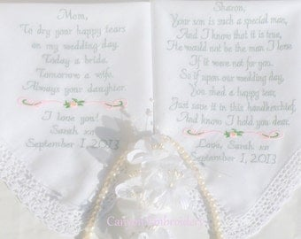 Wedding Gifts, Embroidered Wedding Hankerchief, Mother In Law, & Mother of the Bride, by Canyon Embroidery
