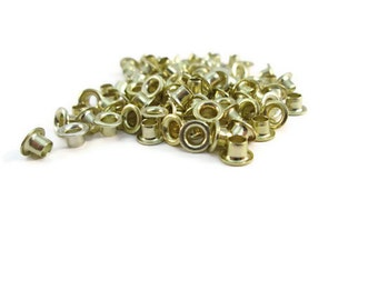 Gold Eyelets, 1/8 inch, Gold, Scrapbooking, 200 Eyelets, Round Metal, Eyelets, Gold Round, Scrap Booking, 1/8 Gold Eyelet