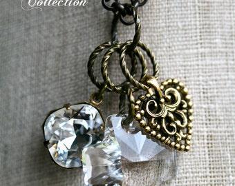 Cross Necklace, Swarovski Crystal Cross, Charm Necklace, Heart Necklace, Religious Necklace