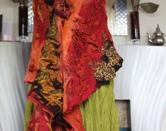 Nuno felted silk & wool shawl collage shawl - orange gold red rust lagenlook - Made to order Art to Wear