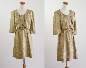 Vintage 50s Dress, Metallic Gold & Beige 1950s Dress, 50s Party Dress, Metallic Dress, AS IS for Costume, Upcycle, Repair - Medium