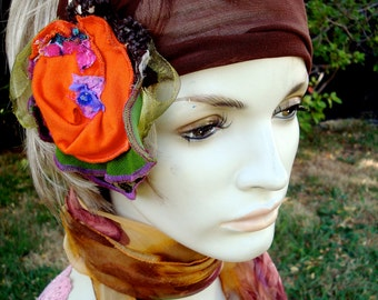 Womens Soft Mesh Headband scarf Holder Fascinator Wide turban with Shabby Chic flower