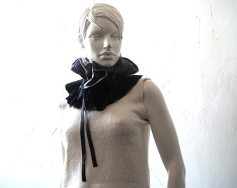 Felted wool scarf merino wool collar universal mini scarf Gray Black color Satin ribbon Ready for shipping