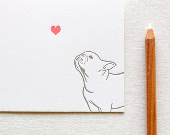 Letterpress French Bulldog in Love Card