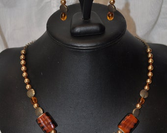 Glass Pearl, Glass, and Brass Necklace with Watch Pendant and Earrings