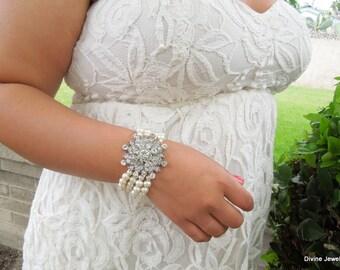 bridal pearl and rhinestone Bracelet, Statement Bridal Bracelet, Bridal Cuff, Wedding Rhinestone Bracelet, swarovski crystal cuff, MELISSA