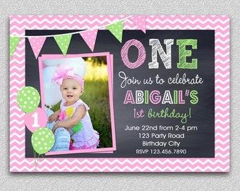 Chevron Birthday Invitation , Chalkboard Birthday Invitation , Pink and Green Chalkboard Birthday Invitation Girls