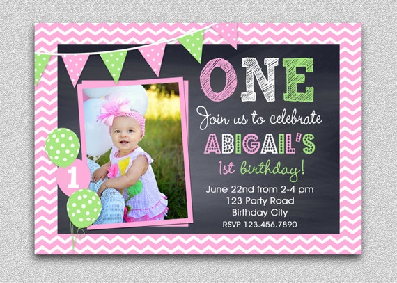 Chevron Birthday Invitation , Chalkboard Birthday Invitation ...