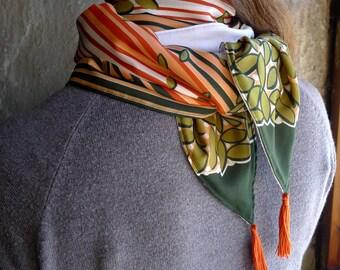 Green Orange Tassel Scarf, Neck Scarf, Spring Scarf, Fashion Accessories, Striped Scarf - Leaf Vintage Retro Fabric, Jersey