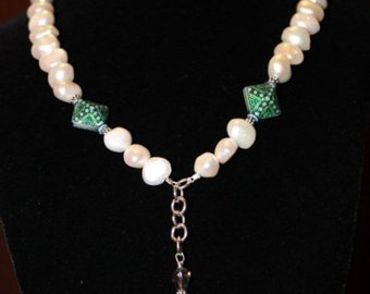 Freshwater Pearl Necklace with Mirage Mood Beads