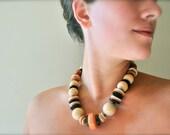 Vintage beaded statement necklace - peach beach bohemian wood jewelry
