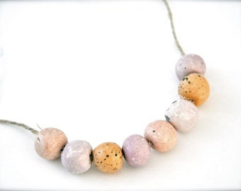 Boho Beaded Necklace - Spring Coral Pink Peach