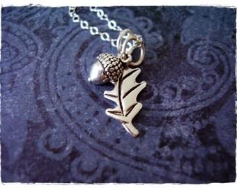 Silver Acorn and Oak Leaf Necklace - Sterling Silver Acorn and Oak Leaf Charms on a Delicate Sterling Silver Cable Chain or Charms Only