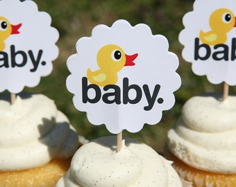 Baby Duck Cupcake Picks, Perfect for Baby Showers, Ducks, Yellow