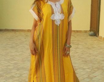Resort Caftan Bedoin Style- Yellow, Moroccan kaftan, caftan, bohemian wear, resort wear, beach cover up