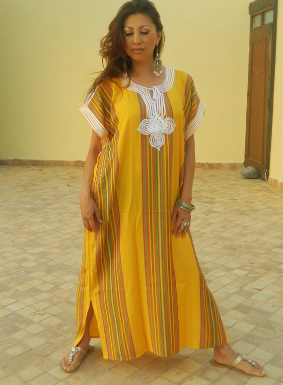Resort Caftan Bedoin Style- Yellow, Moroccan kaftan, caftan, bohemian wear, resort wear, beach cover up