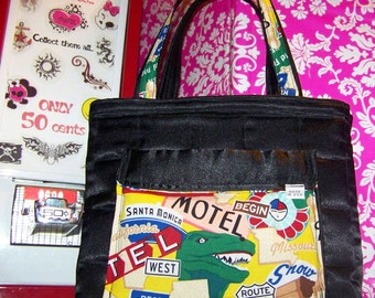 Route 66 - Purse - Black - Zipper - Small 2 Handle Bag - Made in USA
