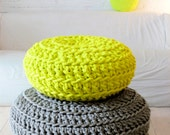 Floor Cushion Crochet - Neon yellow
