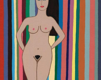 Nude Woman with Multicolored Stripes Giclee Print on Canvas 16 x 12
