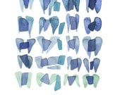 Watercolor painting Sea Glass - giclée art print from original Watercolor blue painting - abstract painting