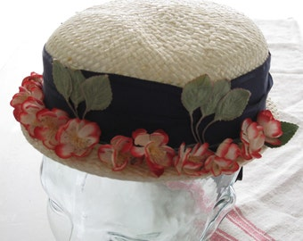 Vintage Ivory Straw Hat with Red and Ivory Millinery Flowers