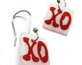 xo dangle earrings - hugs and kisses shrinky dink jewelry - lightweight plastic drop