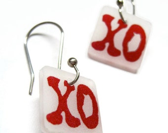 xo dangle earrings - hugs and kisses shrinky dink jewelry - lightweight plastic drop