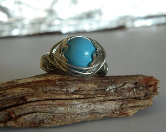 Pearl Ring Turquoise Swarovski Glass Pearl wire wrap ring