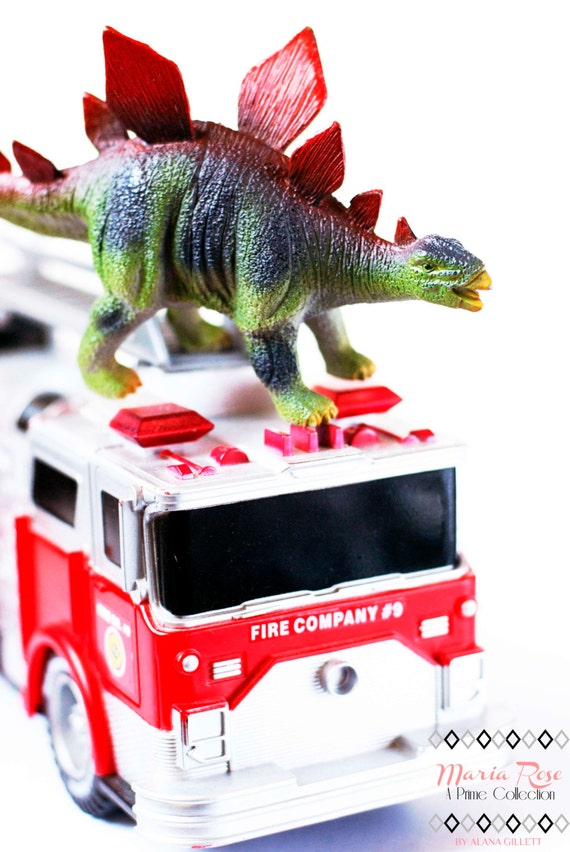 Fiery Stegosaurus- Fine Art Photography print 5x7 by Alana Gillett- Dinosaur Red Fire Truck Wheels Boys Girls Kids Room Wall Art Home Decor