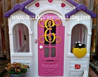 """14"""" Monogram Letter- Interlocking Script Initial- Wooden Monogram- for your front door, wreath, home, nursery, or wedding- unpainted"""