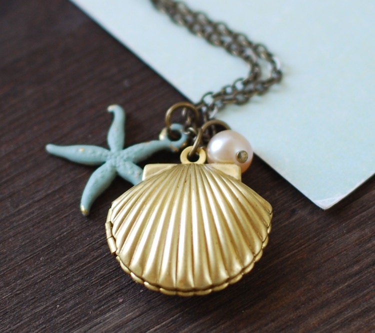 Starfish Shell Locket Necklace Gold Brass Sea Shell Locket