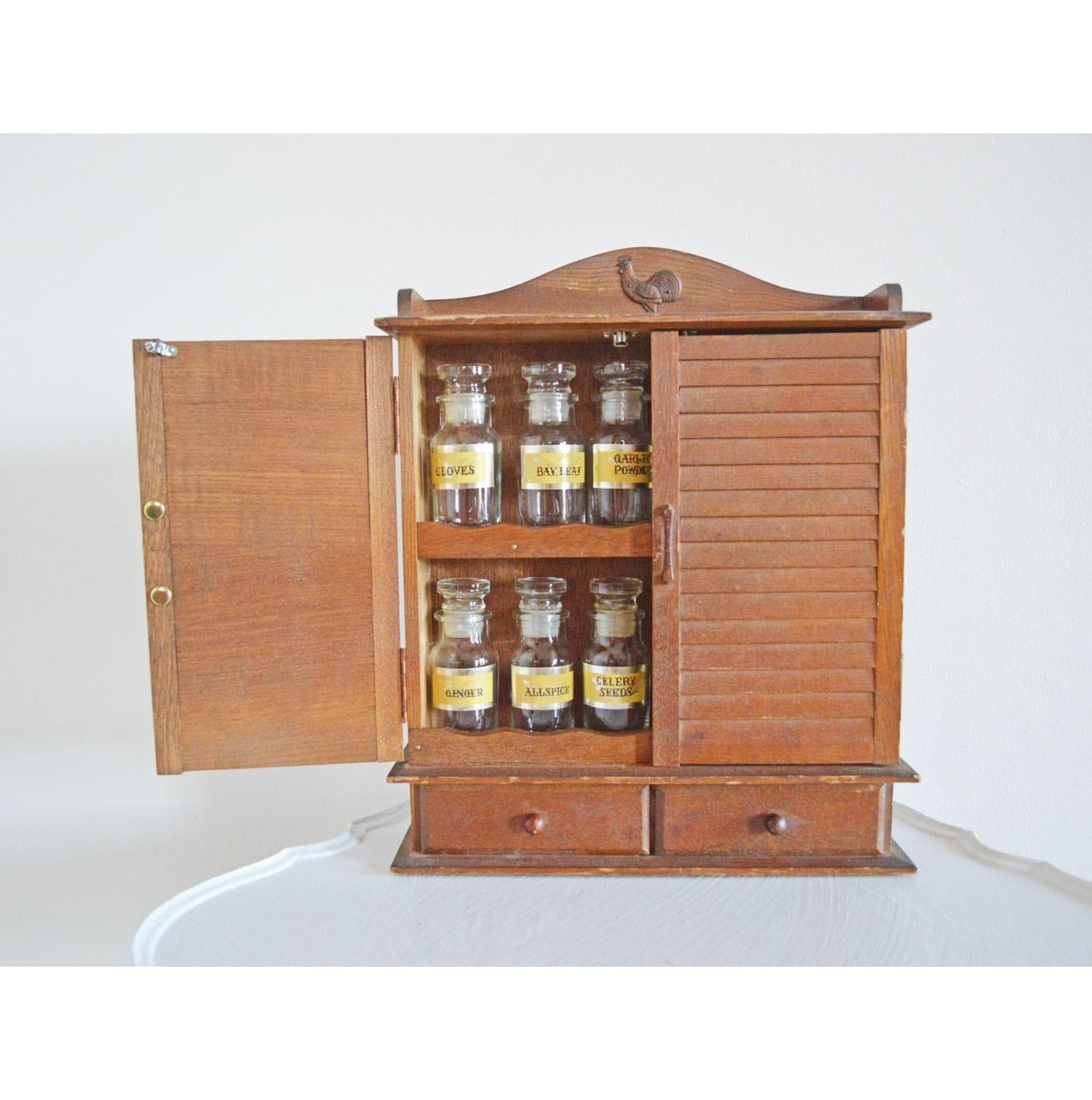 Vintage Wood Spice Cabinet 12 Glass Jars Rooster Spice Rack